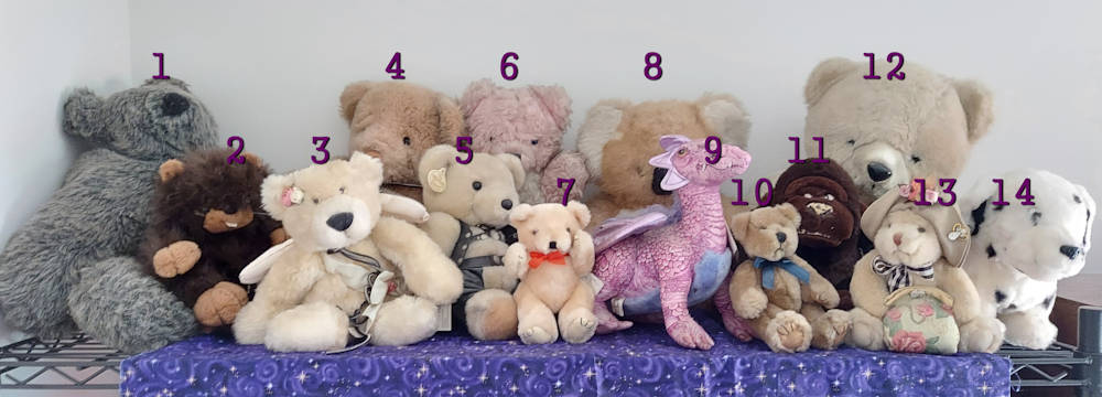 photograph of 14 stuffed toys