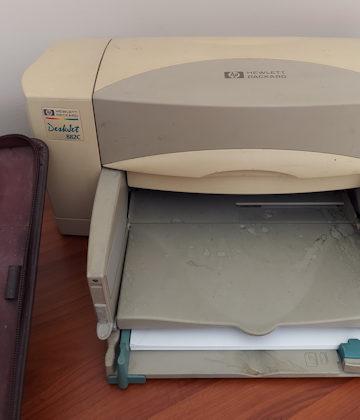 partial details of an HP inkjet printer